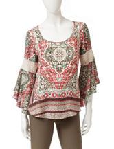 Heart Soul Mixed Print Crochet Accent Top