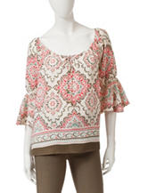 Heart Soul Moroccan Inspired Peasant Top