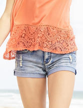 Amethyst Light Wash Embroidered Pocket Shorts