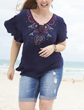 Self Esteem Juniors-plus Navy Embroidered Peasant Top