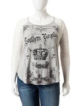 Self Esteem Junior-Plus Lace Raglan Southern Royalty Top