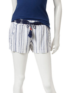 BeBop Blue & White Striped Print Shorts