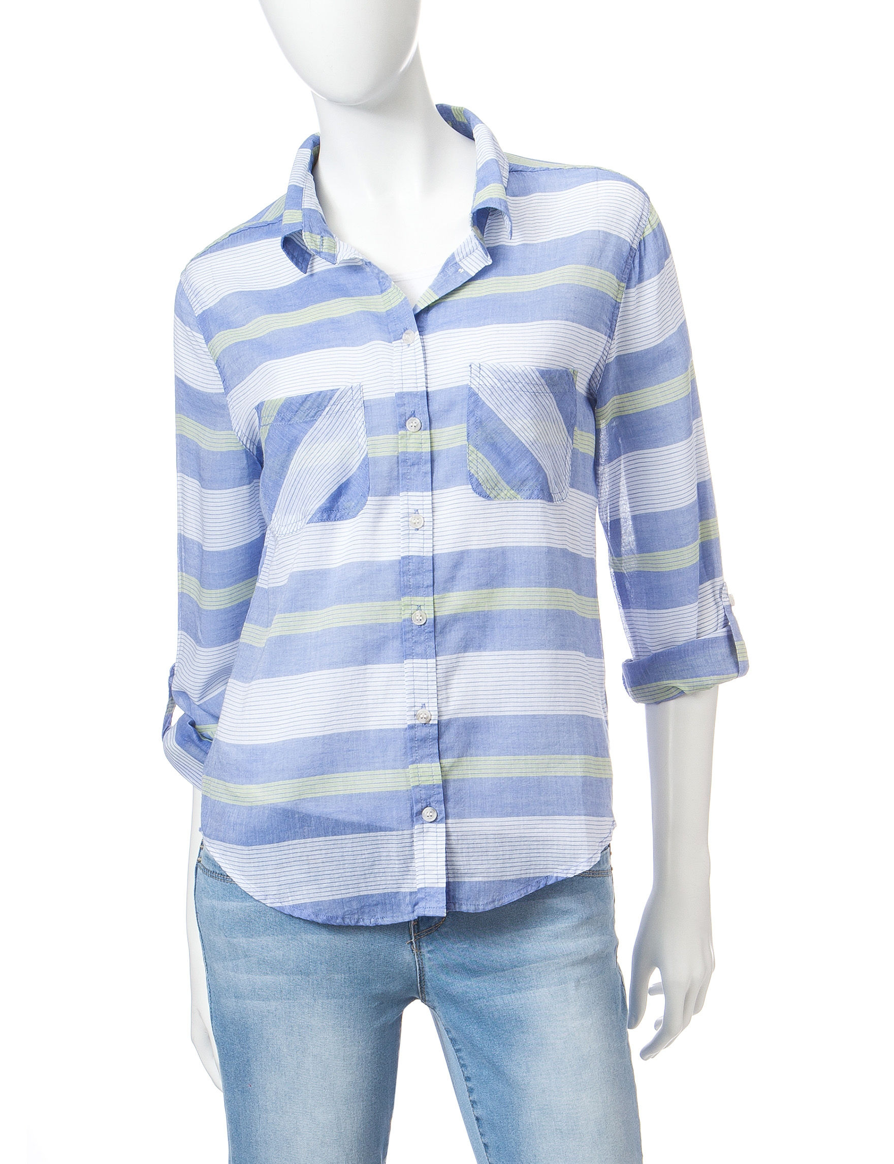 Wishful Park Blue Stripe Casual Button Down Shirts