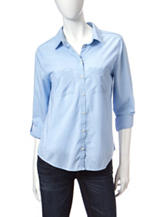 Wishful Park Solid Color Light Blue Woven Top