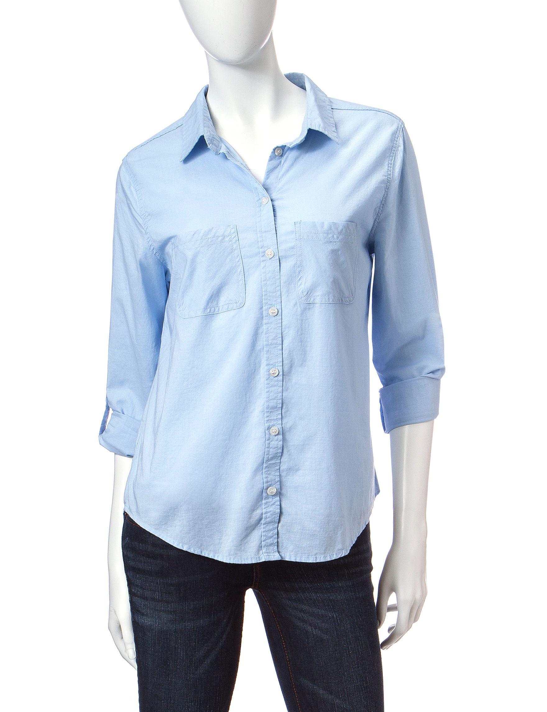 Wishful Park Light Blue Casual Button Down Shirts