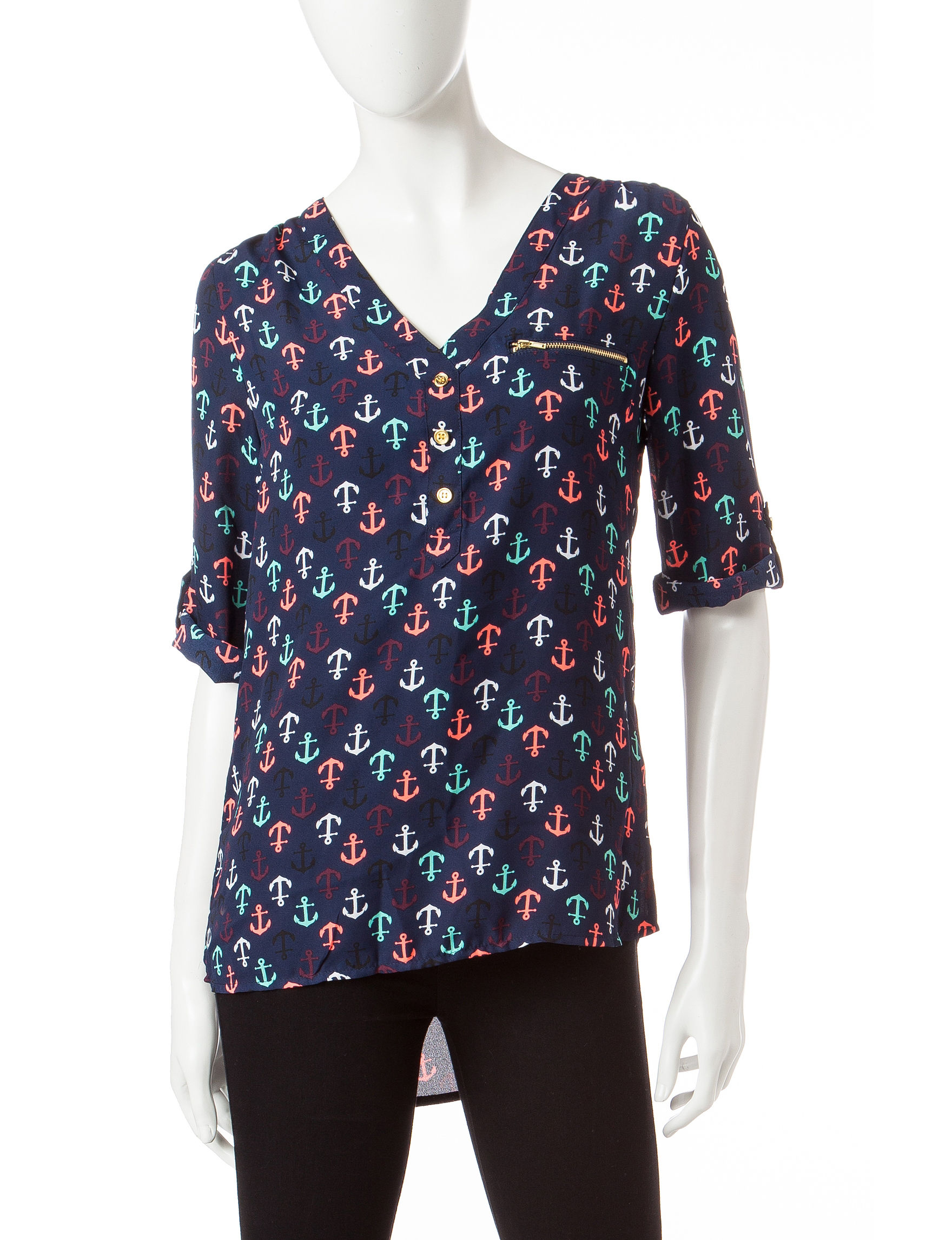 Wishful Park Navy Multi Shirts & Blouses