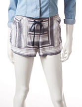 Jolt Navy & White Striped Linen Shorts