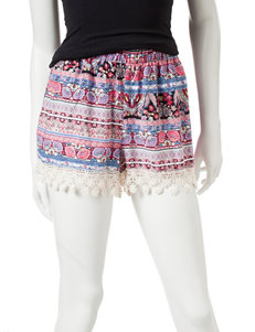 Justify Multicolor Floral Print Crochet Trim Shorts