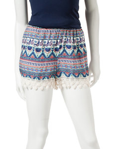 Justify Multicolor Elephant Print Crochet Trim Shorts