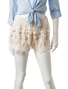 Mark Edwards Beige Tiered Crochet Shorts
