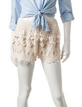 Mark Edwards Beige Tiered Crochet Shorts