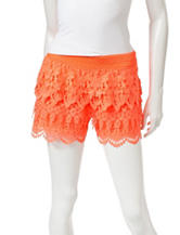 Justify Coral Tiered Crochet Shorts