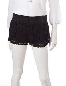 Justify Solid Color Envelope Crochet Shorts