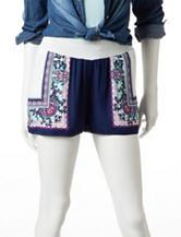 Justify Navy & White Border Print Smock Waist Shorts