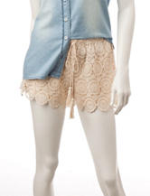 Heart Soul Ivory Medallion Crochet Shorts