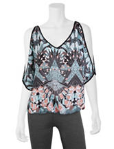A. Byer Abstract Print Lattice Back Top