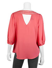 A. Byer Coral Crochet Back Woven Top