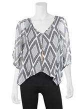 A. Byer Black & White Geo Print Layered-Look Necklace Top