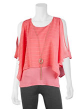 A. Byer Coral Layered-Look Necklace Top