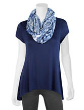 A. Byer 2-pc. Navy Knit Top & Scarf Set