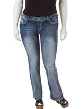 Amethyst Junior-plus Dark Wash Gold Sequin Embellished Jeans