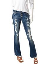 Amethyst Classic Wash Destructed Slim Bootcut Jeans