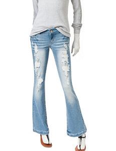 Amethyst Light Wash Destructed Fit & Flare Jeans