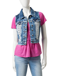 Amethyst Acid Wash Crochet Panel Denim Vest