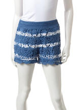 Justify Blue & White Tie Dye Print Tiered Crochet Shorts