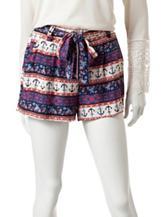 Justify Multicolor Anchor Striped Print Tie Shorts