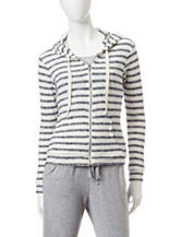 Miss Chievous Black & Ivory Striped Print Hacci Hoodie