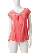 Eyeshadow Solid Color Lace Baby Doll Top