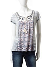 Jolt Mixed Media Print Peasant Top
