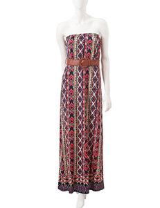 Justify Multicolor Strapless Aztec Print Dress