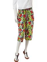Signature Studio Tropical Print Cropped Pants