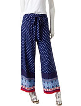 Justify Blue & Red Border Print Soft Pants
