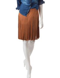 My Michelle Faux Suede Fringe Skirt