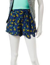 Justify Navy Pineapple Print Pompom Trim Shorts