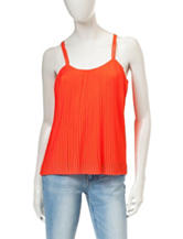 My Michelle Bright Orange Accordion Pleated Tank Top