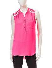 My Michelle Bright Pink Lattice Back Woven Top