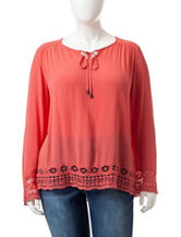 Eyeshadow Plus-size Coral Crochet Peasant Top