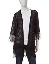 Eyeshadow Solid Color Chevron Knit Kimono Top