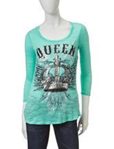 Self Esteem Mint Queen Print Lace Back Top