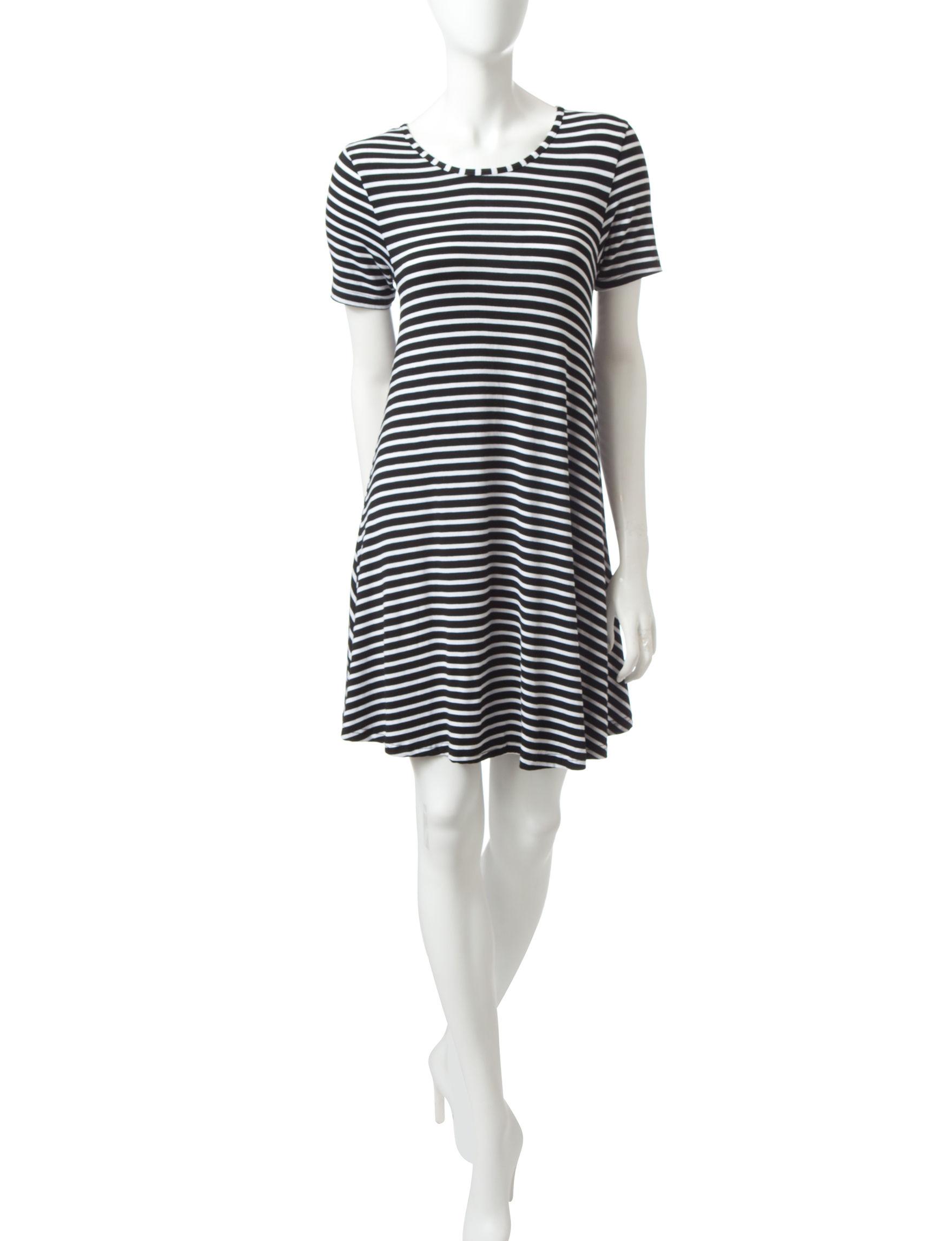 Justify Black /  White Shirt Dresses