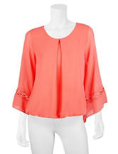 A. Byer Coral Lattice Accented Woven Top