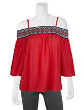 A. Byer Red Tribal Accent Cold Shoulder Top