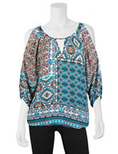 A. Byer Multicolor Mixed Print Peasant Top