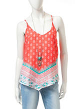 Heart Soul Coral Twin Print Aztec Inspired Tank Top