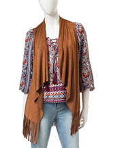 Heart Soul Brown Faux Suede Fringe Vest