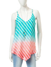 Heart Soul Multicolor Ombre Striped Print Tank Top